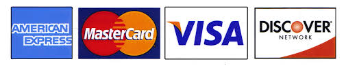 American Express, MasterCard, Visa and Discover credit cards