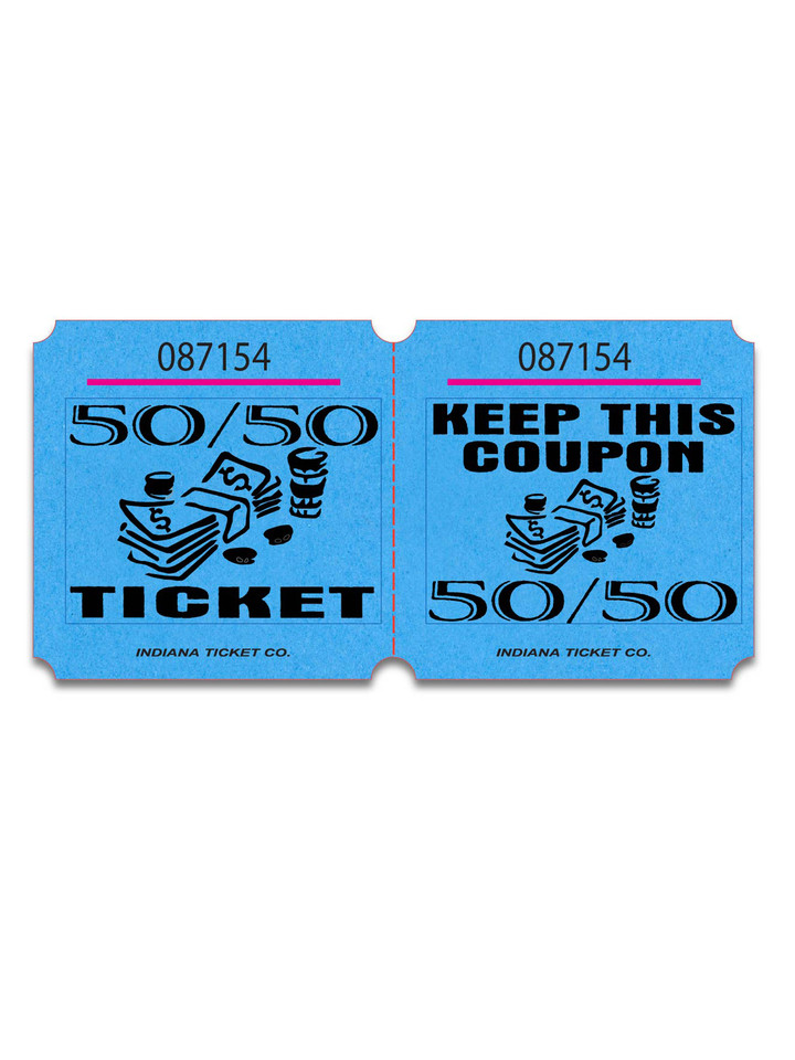 Double Marquee 50/50 Raffle Tickets Blue