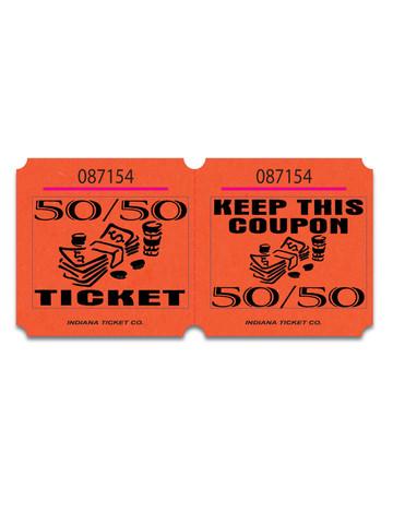 double marquee 50 50 raffle tickets orange